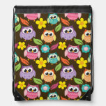 Colorful Patterned Owls and Flowers Drawstring Backpack