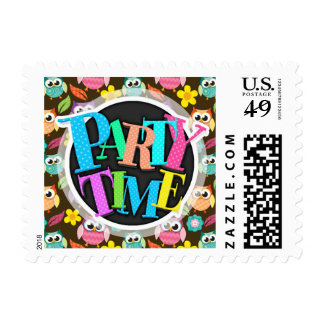 Colorful Patterned Owls and Flowers Postage Stamps