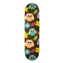 Colorful Patterned Owls and Flowers Skateboard Deck