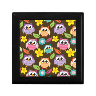 Colorful Patterned Owls and Flowers Trinket Boxes