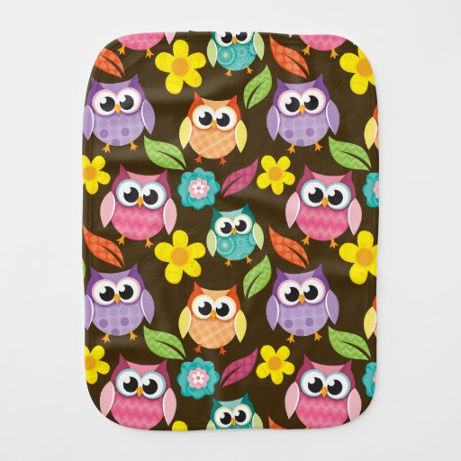 Colorful Patterned Owls and Flowers Baby Burp Cloth