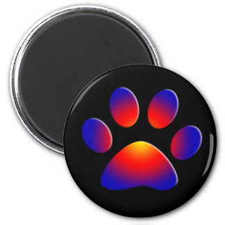 COLORFUL PAW 2 INCH ROUND MAGNET