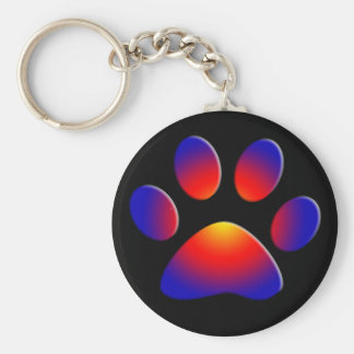 COLORFUL PAW BASIC ROUND BUTTON KEYCHAIN