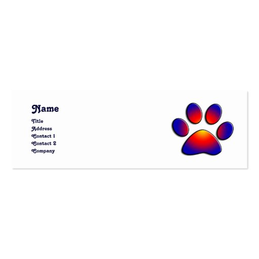 COLORFUL PAW Double-Sided MINI BUSINESS CARDS (Pack OF 20)