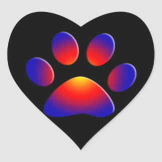 COLORFUL PAW Heart Heart Sticker