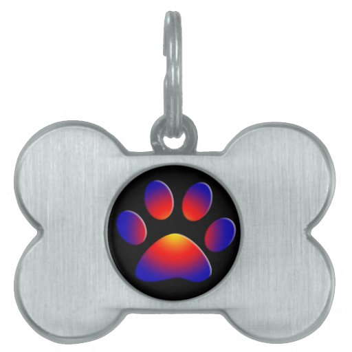 COLORFUL PAW PET NAME TAGS