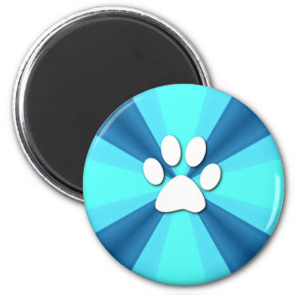Colorful Paw Print 2 Inch Round Magnet
