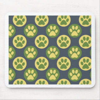 Colorful Paw Print and Polka Dot Pattern Mouse Pad