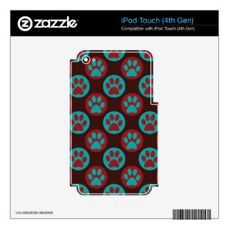 Colorful Paw Print and Polka Dot Pattern Decal For iPod Touch 4G