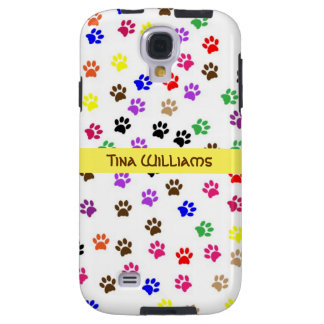 Colorful Paw Print Galaxy S4 Case