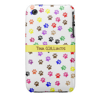 Colorful Paw Print iPhone 3 Case