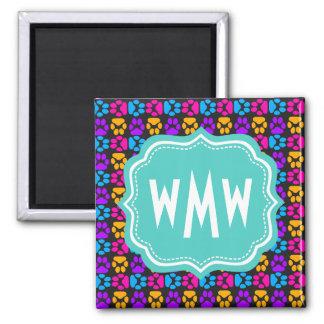 Colorful Paw Print Pattern Custom Monogram 2 Inch Square Magnet