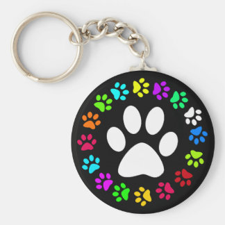 COLORFUL PAW PRINTS BASIC ROUND BUTTON KEYCHAIN