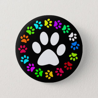 COLORFUL PAW PRINTS BUTTON