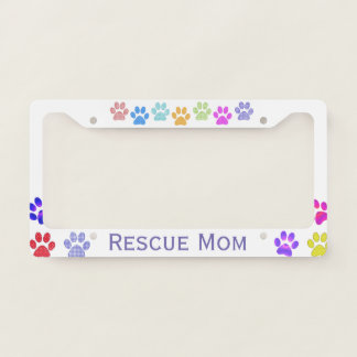 Colorful Paw Prints Custom License Plate Frame