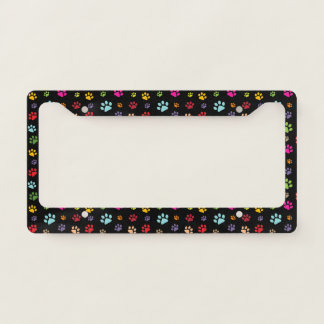 Colorful Paw Prints Design License Plate Frame