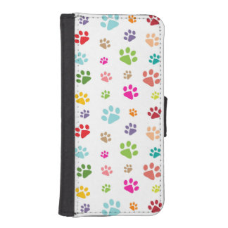 Colorful Paw Prints Design Phone Wallet