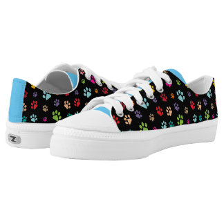 Colorful Paw Prints Design Sneakers Printed Shoes