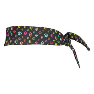 Colorful Paw Prints Design Tie-Back Headband Tie Headband