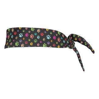 Colorful Paw Prints Design Tie-Back Headband
