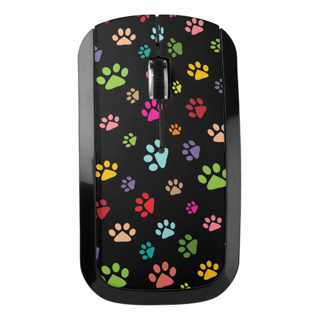 Colorful Paw Prints Design Wireless Mouse