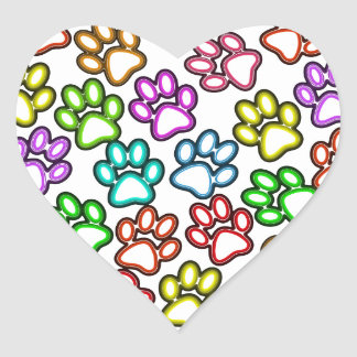 Colorful Paw Prints Heart Sticker