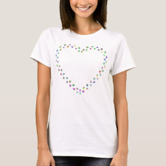 Colorful Paw Prints Heart T-Shirt