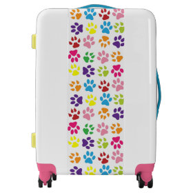 Colorful Paw Prints Luggage
