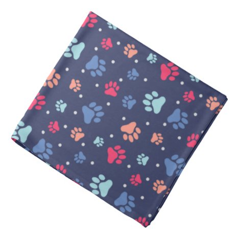 Colorful Paw Prints on Navy Blue Canvas Bandana