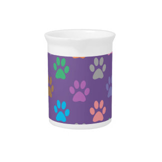 Colorful paw prints pattern beverage pitcher
