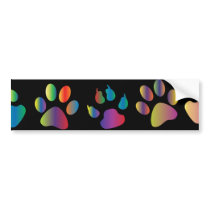 Colorful Paw Prints Pattern (Black) Bumper Sticker