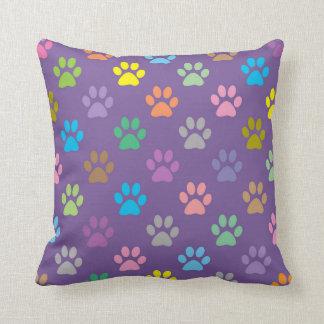 Colorful paw prints pattern throw pillow