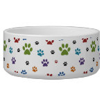 Colorful Paw Prints Dog Water Bowls