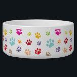 """Colorful Paw Prints Pet Bowl<br><div class=""""desc"""">Colorful Paw Prints Pet Bowl with customizable background color.</div>"""