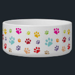 "Colorful Paw Prints Pet Bowl<br><div class=""desc"">Colorful Paw Prints Pet Bowl with customizable background color.</div>"