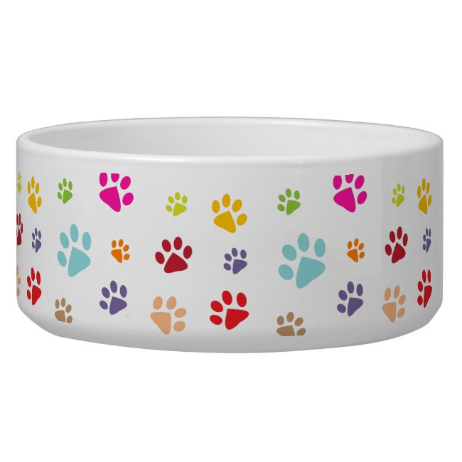 Colorful Paw Prints Pet Bowl