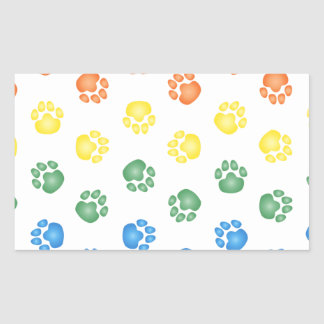 Colorful Paw prints Rectangular Sticker