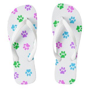 48226bdf527dd Colorful Paw Prints Unisex Flip Flops