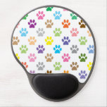 Colorful paw puppy prints pattern gel mousepad