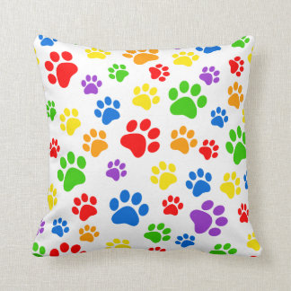 Colorful pawprint pattern pillow