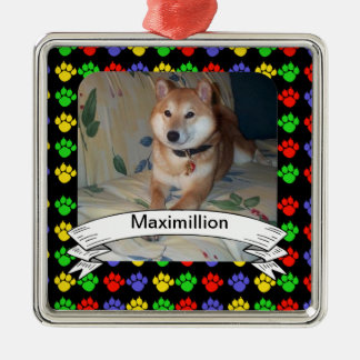 Colorful Pawprints Personalized Photo Square Christmas Ornament