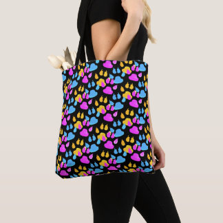 Colorful Paws and Claws Dog Gear Tote Bag