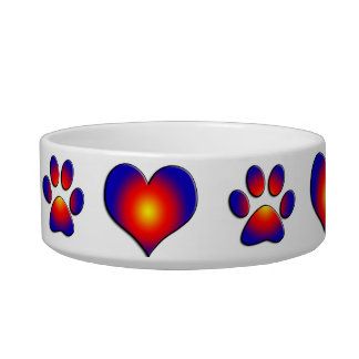 COLORFUL PAWS AND HEARTS BOWL