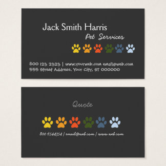 Colorful Paws DOG Pet Veterinarian Business Card