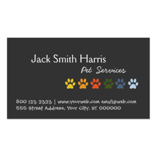 Colorful Paws Dog Pet Veterinarian Double-Sided Standard Business Cards (Pack Of 100)