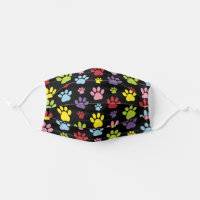 Colorful Paws, Dog Traces, Trails, Animal Paws Adult Cloth Face Mask