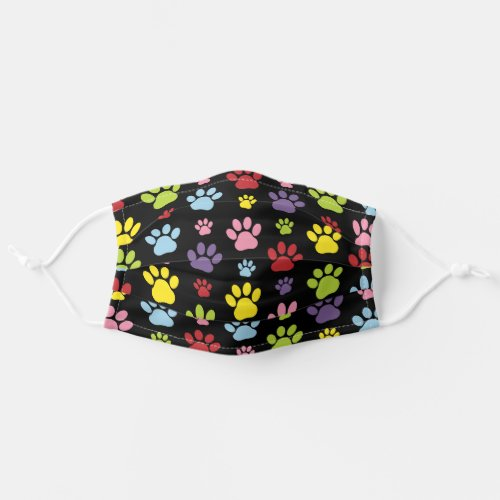 Colorful Paws Dog Traces Trails Animal Paws Cloth Face Mask