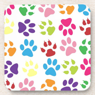 Colorful paws pattern beverage coasters