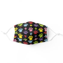 Colorful Paws, Paw Pattern, Paw Prints, Dog Paws Adult Cloth Face Mask