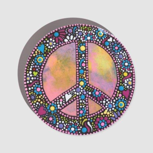 Colorful Peace Car Magnet